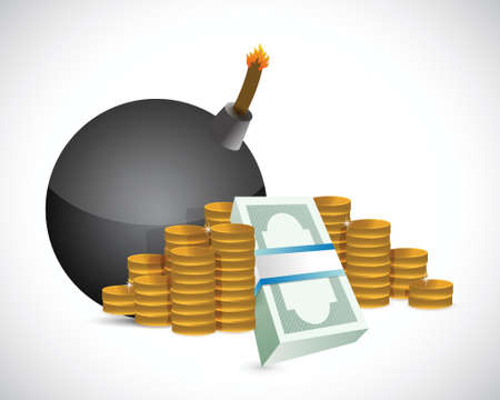 bomb and money profits illustration design over a white background Vector