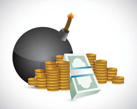 us coin: bombas y dinero ganancias ilustraci�n dise�o sobre un fondo blanco Vectores