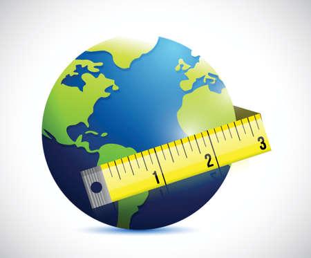 obesity: globe and measure tape illustration design over a white background Illustration