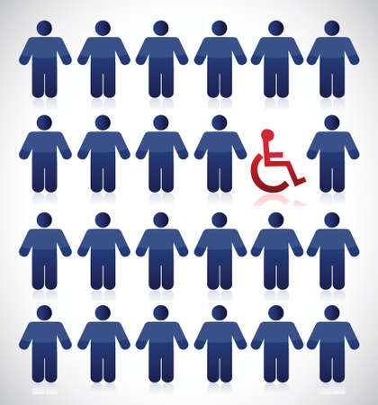 discriminate: handicap in the middle of a set of people. illustration design over white