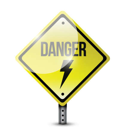 danger road sign illustration design over a white background Vector