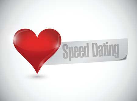 speed dating: speed dating heart sign illustration design over white
