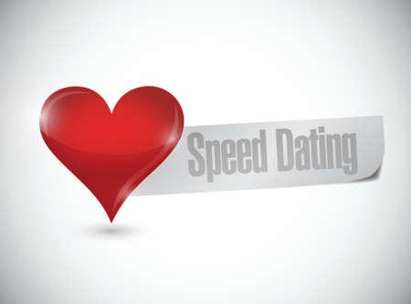 speed dating: speed dating heart sign illustration design over white