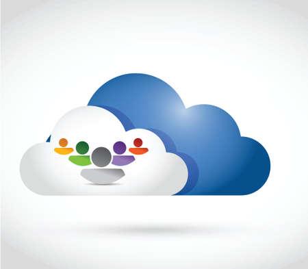 demografico: cloud computing equipo de dise�o de ilustraci�n sobre un fondo blanco