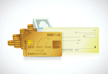 credit card and bank check illustration design over a white background Çizim