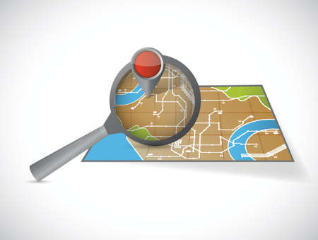 magnify over a map illustration design over a white background