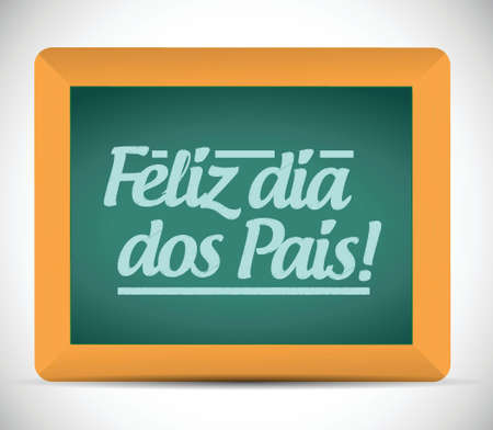 happy fathers day in portuguese message sign illustration design over a blackboard Ilustração