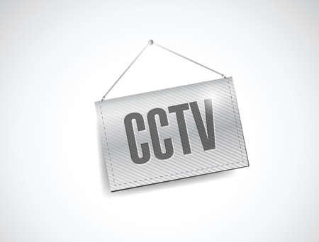 cctv hanging banner illustration design over white Vector