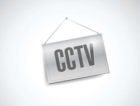 caution cctv: cctv hanging banner illustration design over white Illustration