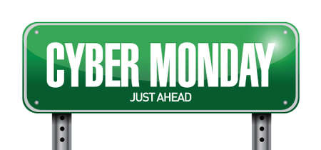 monday: cyber monday road sign illustration design over a white background Illustration