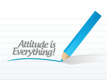 attitude is everything message written on a piece of paper. Vector