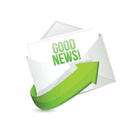 goed nieuws e-mail illustratie ontwerp op een witte achtergrond Stock Illustratie