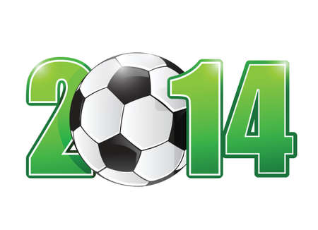 2014 soccer or football ball sign illustration design over white Illustration