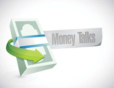 talks: money talks business cash sign illustration design over white