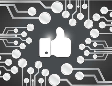 like hand over a circuit board illustration design over a black background