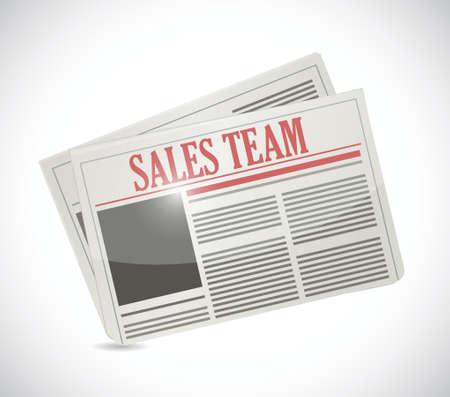 sales team newspaper illustration design over white Stock Vector - 24181602