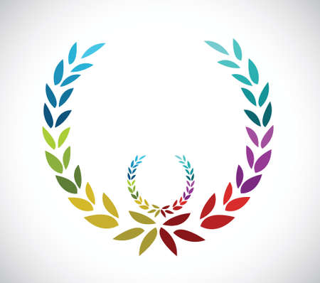 로렐 흰색 배경 위에 그림 디자인을 나뭇잎
