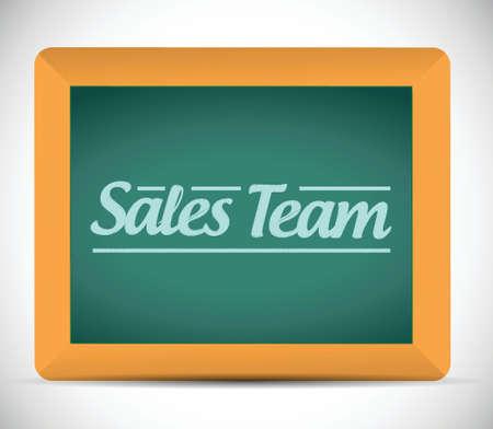 sales team sign illustration design over a blackboard Ilustração