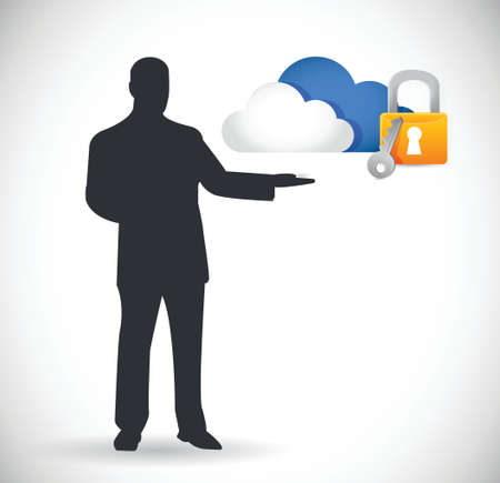 cloud computing security concept illustration design over white