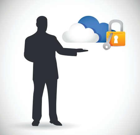 accessing: concepto de seguridad de la computaci�n en nube ilustraci�n, dise�o en blanco