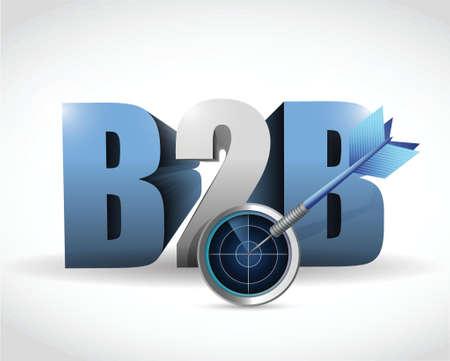 3d manager: b2b radar target illustration design over a white background Illustration