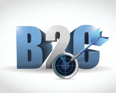 b2c radar target illustration design over a white background Vector