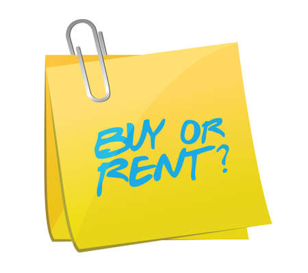 first time buyer: buy or rent post illustration design over a white background