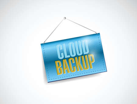 saas: cloud backup hanging banner illustration design over a white background