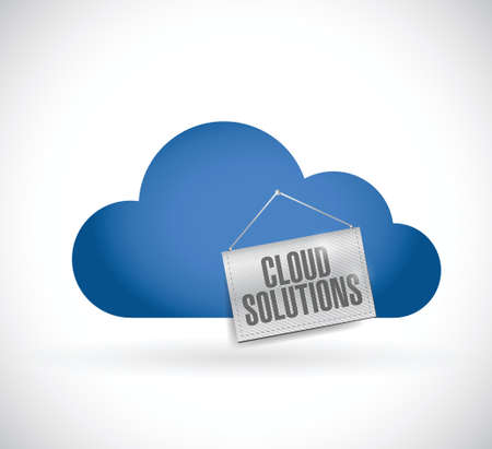 cloud computing, soluciones en la nube que cuelga la bandera ilustración, diseño en blanco