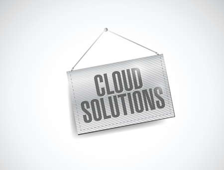 saas: cloud solutions hanging banner illustration design over white Illustration