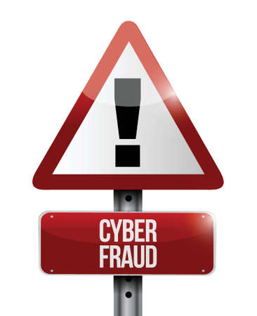 online privacy: cyber fraud warning illustration design over a white background