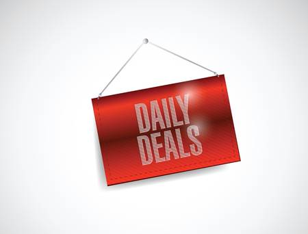 daily deals hanging banner illustration design over white Vector