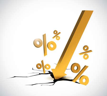 pourcentages d'escompte conception d'illustration sur un fond blanc