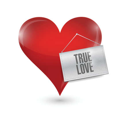 true love: heart with a true love sign illustration design over white Illustration