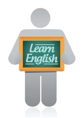 studing: icon holding a learn english message sign illustration design over white