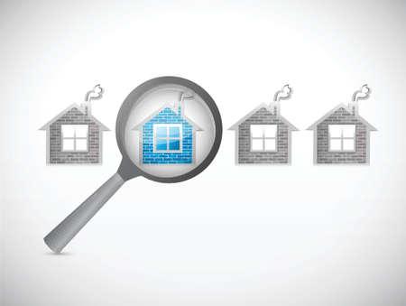 housing search: in cerca di una casa. magnificare design illustrazione su bianco