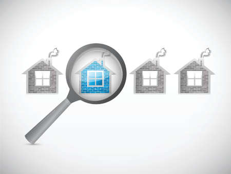 looking for a house. magnify illustration design over white Stock Illustratie