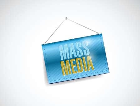 mass media hanging banner illustration design over white