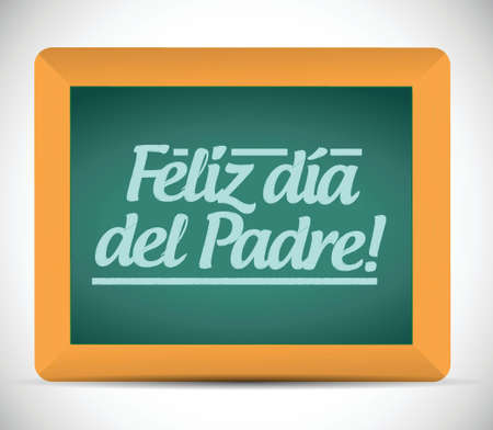 captivated: happy fathers day in spanish message sign illustration design over a blackboard
