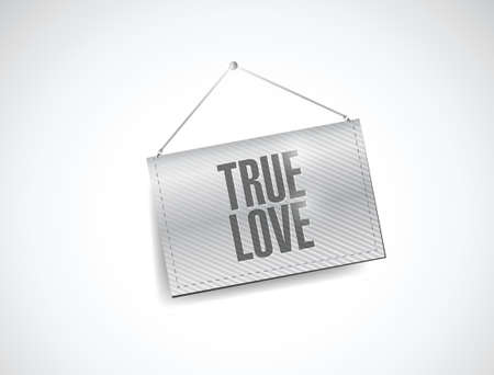 true love hanging banner illustration design over a white background