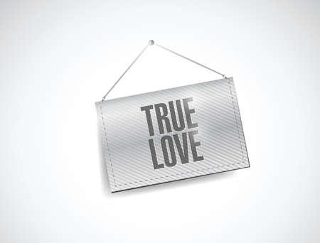 true love: true love hanging banner illustration design over a white background