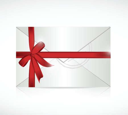 envelope: envelope ribbon sign illustration design over a white background