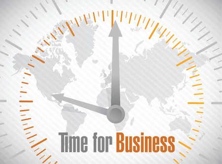 time for business world map illustration design over white Vector