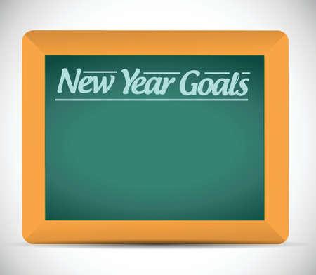 prioridades: nuevas metas a�os mensaje escrito ilustraci�n, dise�o en una pizarra