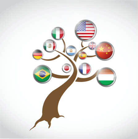 flag international map tree illustration design over a white background