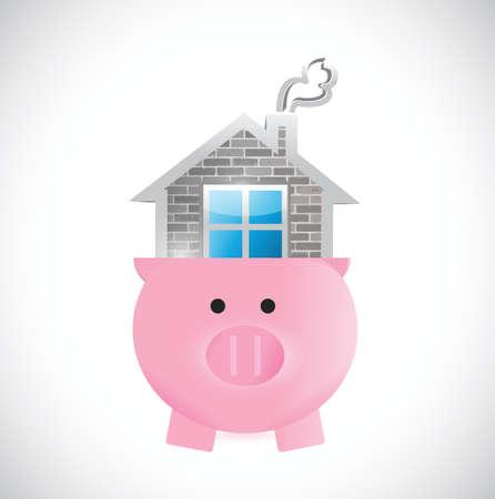 saving for a home. piggy and house illustration design over white Illustration
