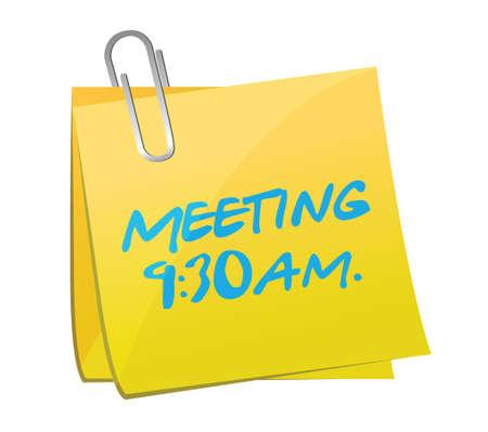 meeting info written on a yellow post. illustration design