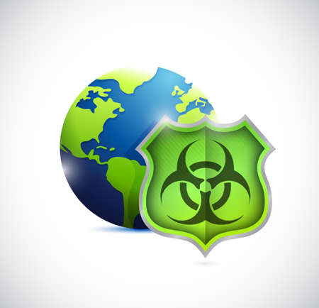 globe and shield protection illustration design over white Stock fotó