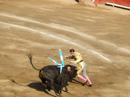 torero: LIMA, PERU - NOV 2013: famous Spanish torero Juan Jose Padilla. Brave bullfighter. Banderillas