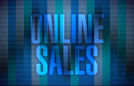 online sales illustration design over a binary background illustration